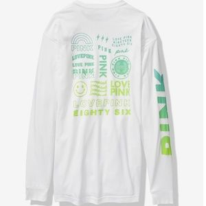 VS PINK Long Sleeve Campus Tee